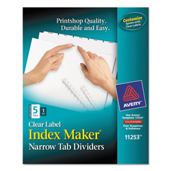 Avery index maker clear label dividers with narrow tabs for Avery easy apply 5 tab template