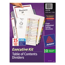 Avery ready index table of contents dividers executive for Avery table of contents template 15 tab