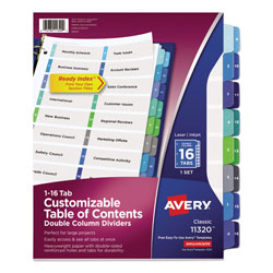 Avery Double-Column Ready Index® Dividers, 16-Tab Set, Assorted Colors