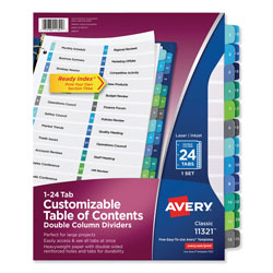 Avery Double-Column Ready Index® Dividers, 24-Tab Set, Assorted Colors