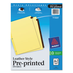 Avery Leather Pre-Printed Dividers with A-Z Tabs, 25-Tab Set, Red