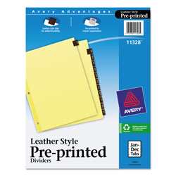 Avery Leather Pre-Printed Dividers, January-December, 12-Tab Set, Red