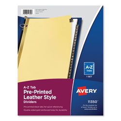 Avery Leather Pre-Printed Dividers, 25-Tab Set, Black