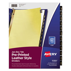 Avery Leather Pre-Printed Dividers, 12-Tab Set, Black