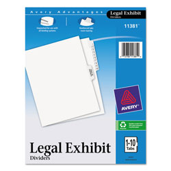 Avery Legal Side Tab Dividers, 1-10 & Table of Contents, Letter, White