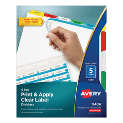 Avery Index Maker® Clear Label Dividers, 5-Tab Set, Multicolor