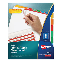 Avery Index Maker® Clear Label Dividers, 8-Tab Set, Multicolor
