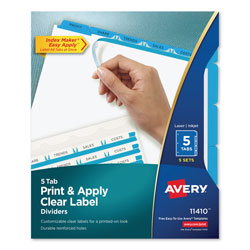 Avery Index Maker® Clear Label Dividers, Easy Apply™ Label Strip, 5-Tab, 5 Sets, Blue