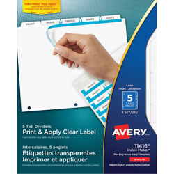 Avery Index Maker® Clear Label Dividers, 5-Tab Set, White