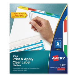 Avery Index Maker® Clear Label Dividers, Easy Apply™ Label Strip, 5-Tab, 5 Sets, Multicolor