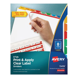 Avery Index Maker® Clear Label Dividers, Easy Apply™ Label Strip, 8-Tab, 5 Sets, Multicolor