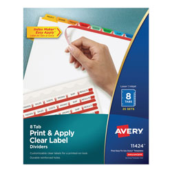 Avery Index Maker® Clear Label Dividers, Easy Apply™ Label Strip, 8-Tab, 25 Sets, Multicolor