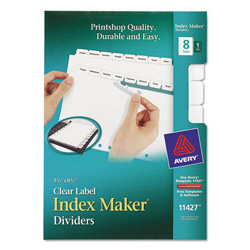 Avery Mini Index Maker® Clear Label Dividers, 8-Tab, 1 Set, White