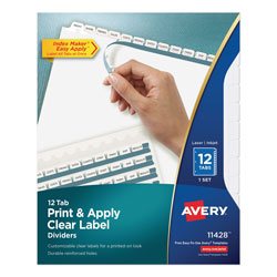 Avery Index Maker® Clear Label Dividers, 12-Tab Set, White