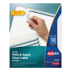 Avery Index Maker® Clear Label Dividers, Easy Apply™ Label Strip, 12-Tab, 5 Sets, White