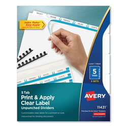 Avery Index Maker® Unpunched Clear Label Dividers for Bound Documents, 5-Tab, 5 Sets, White