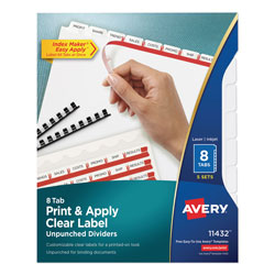 Avery Index Maker® Unpunched Clear Label Dividers for Bound Documents, 8-Tab, 5 Sets, White