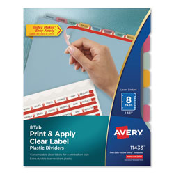 Avery Index Maker® Translucent Clear Label Dividers, 8-Tab Set, Multicolor