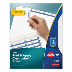 Avery Index Maker® Clear Label Dividers, Easy Apply™ Label Strip, 3-Tab, 5 Sets, White