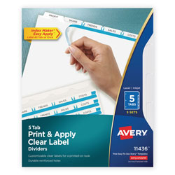 Avery Index Maker® Clear Label Dividers, Easy Apply™ Label Strip, 5-Tab, 5 Sets, White