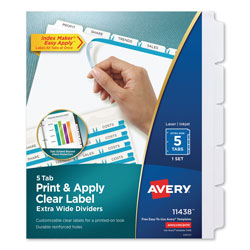 Avery Index Maker® Extra-Wide Clear Label Dividers, 5-Tab Set, White
