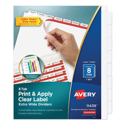 Avery Index Maker® Extra-Wide Clear Label Dividers, 8-Tab Set, White