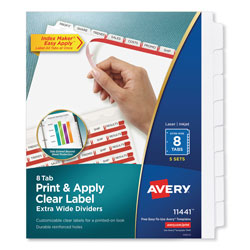 Avery Index Maker® Extra-Wide Clear Label Dividers, 8-Tab, 5 Sets, White