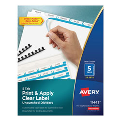 Avery Index Maker® Unpunched Clear Label Dividers for Bound Documents, 5-Tab, 25 Sets, White
