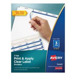 Avery Index Maker® Clear Label Dividers 11445, Easy Apply™ Label Strip, 3-Tab, 25 Sets, White