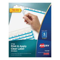 Avery Index Maker® Clear Label Dividers, Easy Apply™ Label Strip, 5-Tab, 25 Sets, White