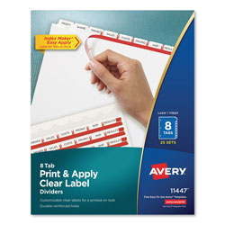 Avery Index Maker® Clear Label Dividers, Easy Apply™ Label Strip, 8-Tab, 25 Sets, White