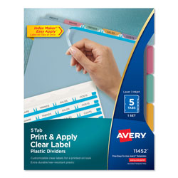 Avery Index Maker® Translucent Clear Label Dividers, 5-Tab Set, Multicolor