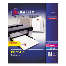 Avery 8 Tab Print-on Dividers, 3 Hole Punched, White
