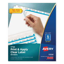 Avery Index Maker® Clear Label Dividers, Easy Apply™ Label Strip, 5-Tab, 50 Sets, White