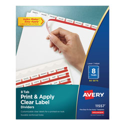 Avery Index Maker® Clear Label Dividers, Easy Apply™ Label Strip, 8-Tab, 50 Sets, White