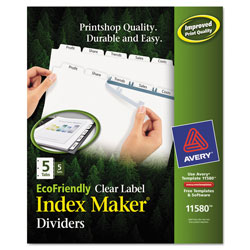 Avery Eco-friendly Index Maker® Clear Label Dividers, White 5-Tab, 5 Sets, White