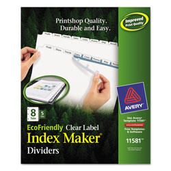 Avery Eco-friendly Index Maker® Clear Label Dividers, White 8-Tab, 5 Sets, White