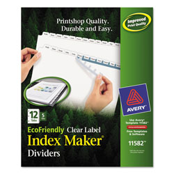 Avery Eco-friendly Index Maker® Clear Label Dividers, White 12-Tab, 5 Sets, White