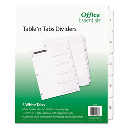 Avery Table-n-Tabs™ Index Tabs, 5-Tab Set, White