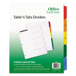 Avery Table-n-Tabs™ Index Tabs, 5-Tab Set, Assorted Colors