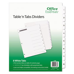 Avery Table-n-Tabs™ Index Tabs, 8-Tab Set, White