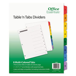 Avery Table-n-Tabs™ Index Tabs, 8-Tab Set, Assorted Colors