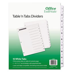 Avery Table-n-Tabs™ Index Tabs, 10-tab Set, White
