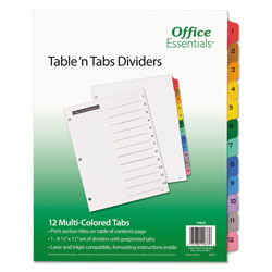 Avery Table-n-Tabs™ Index Tabs, 12-Tab Set, Assorted Colors