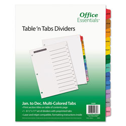 Avery Table-n-Tabs™ Index Tabs, January-December, Assorted Colors
