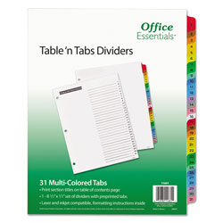 Avery Table-n-Tabs™ Index Tabs, 1-31, Assorted Colors