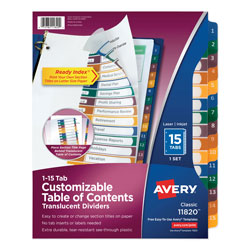 Avery Ready Index® Translucent Table of Contents Dividers, 15-Tab Set, Multicolor