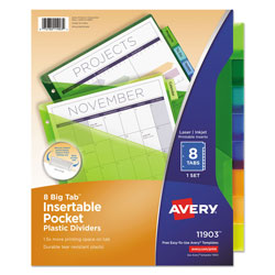 Avery Big Tab™ Pocket Insertable Plastic Dividers, 8-Tab Set, Multicolor