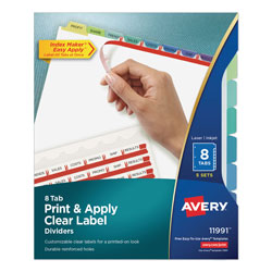 Avery Index Maker® Clear Label Dividers, Easy Apply™ Label Strip, 8-Tab, 5 Sets, Assorted Colors