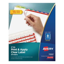 Avery Index Maker® Clear Label Dividers, Easy Apply™ Label Strip, 8-Tab, 25 Sets, Assorted Colors
